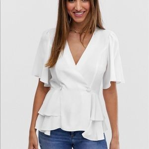 ASOS DESIGN tux top with angel sleeve and button